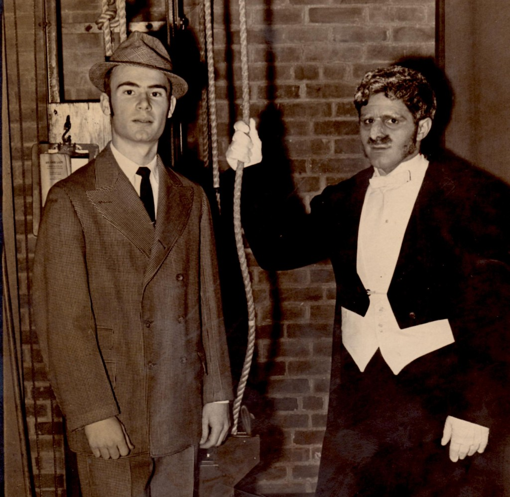 "That's me on the right as Col. Pickering in ""My Fair Lady,"" also done in my senior year in high school. (The picture was taken in the wings with my talented classmate Tom Montgomery as Henry Higgins.)"